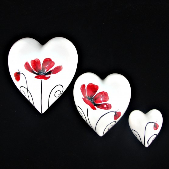 Poppy - Set of Wall Hearts